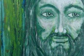 Jolie's Green Jesus Painting